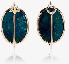 18K rose gold, opal and tsavorite planet earrings