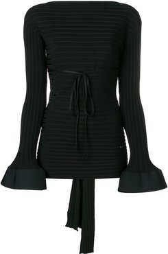 tied back peplum sweater - Black