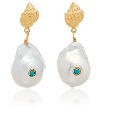baroque shell drop earrings - Blue