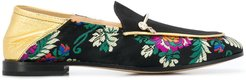 floral embroidered loafers - Black