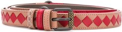 reversible Intrecciato weave and snake embossed belt - Red