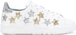 Star lace-up sneakers - White