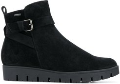 buckled flat boots - Black