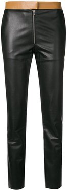two tone leather trousers - Black