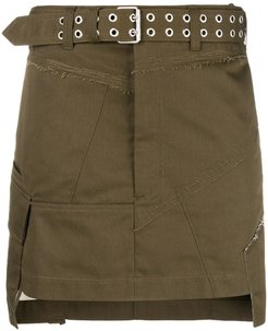 military patch mini skirt - Green
