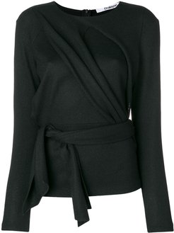 draped front belted top - Black