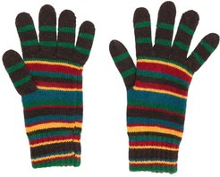 striped knit gloves - Brown