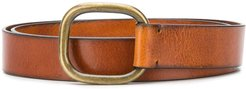 squared buckle belt - Brown