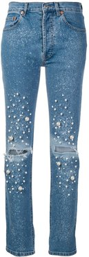embellished straight-leg jeans - Blue