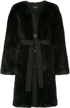 single-breasted belted coat - Black