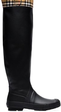 Vintage check and rubber knee-high rain boots - Black