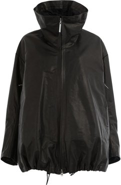 leather padded coat - Black