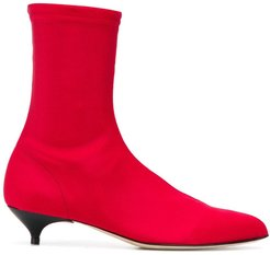 kitten heel ankle boots - Red
