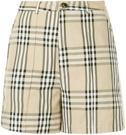 snap button checked shorts - Brown