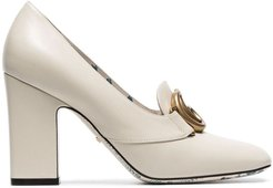 white Victoire 95 GG buckle loafer heels