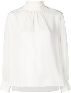 tie neck silk blouse - White