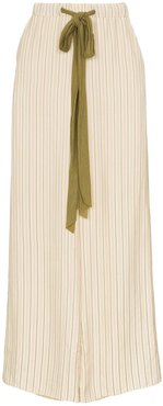 striped wool-blend drawstring trousers - Neutrals
