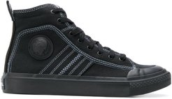 high top sneakers in bicolour cotton - Black