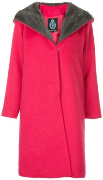 faux fur collar coat - Pink