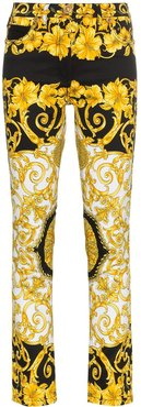 Baroque Low-Rise Patterned Skinny Jeans - Black