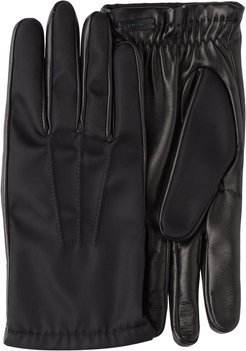 Fabric and leather gloves - Black