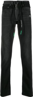 front zip drawstring jeans - Black