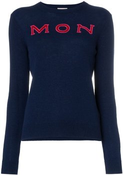 logo intarsia knitted cashmere jumper - Blue
