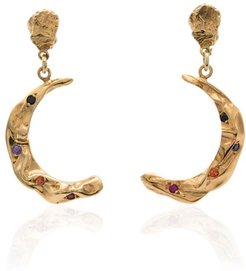 Stardust moon gold-plated earrings - METALLIC