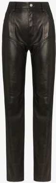 high-waisted straight leg leather trousers