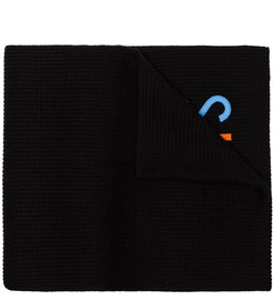 black Logo embroidered ribbed wool scarf