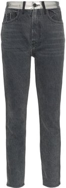high-waisted straight leg metallic panel jeans - Grey