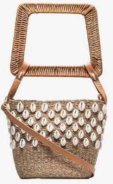 Aranáz Beige Kaia puka shell straw bucket bag