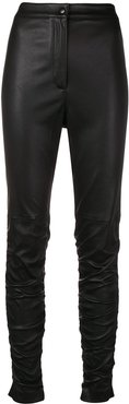 ruched leather trousers - Black