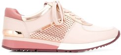 perforated lace-up sneakers - PINK