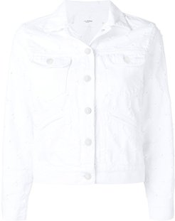 cropped denim jacket - White