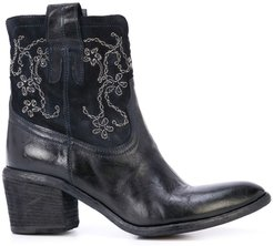 embroidered ankle boots - Blue