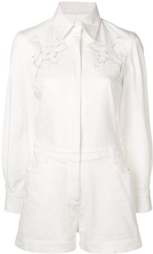 floral embroidered denim playsuit - White