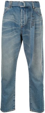 bleached belted jeans - Blue