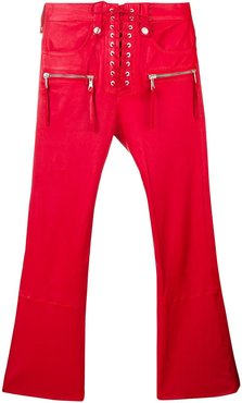 cropped leather trousers - Red