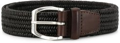 woven buckle belt - Brown
