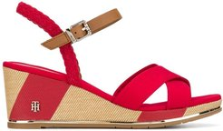 mid-high wedge sandals - Red