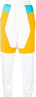 panelled track style trousers - White