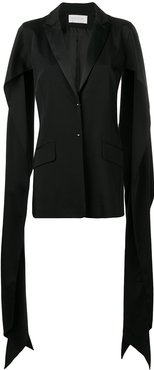 draped slit sleeve blazer - Black