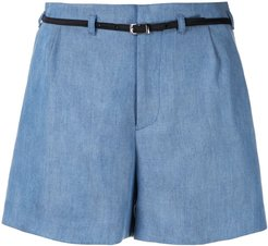 belted tailored shorts - Blue
