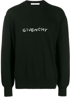 embroidered logo sweater - Black