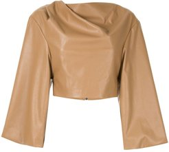 Leatherette Aria top - Brown