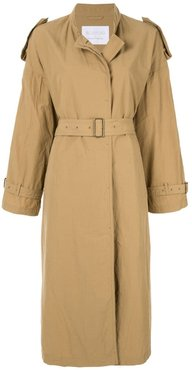 Stand coller belted coat - Brown