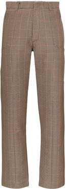 check straight-leg trousers - Brown