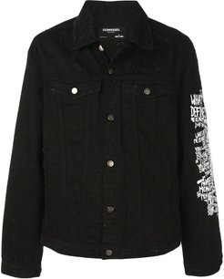 Flower denim jacket - Black