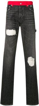 contrasting waistband straight jeans - Black